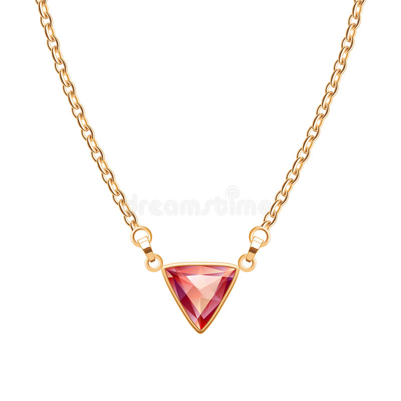 Golden chain necklace with triangle ruby pendant. Jewelry design vector illustration