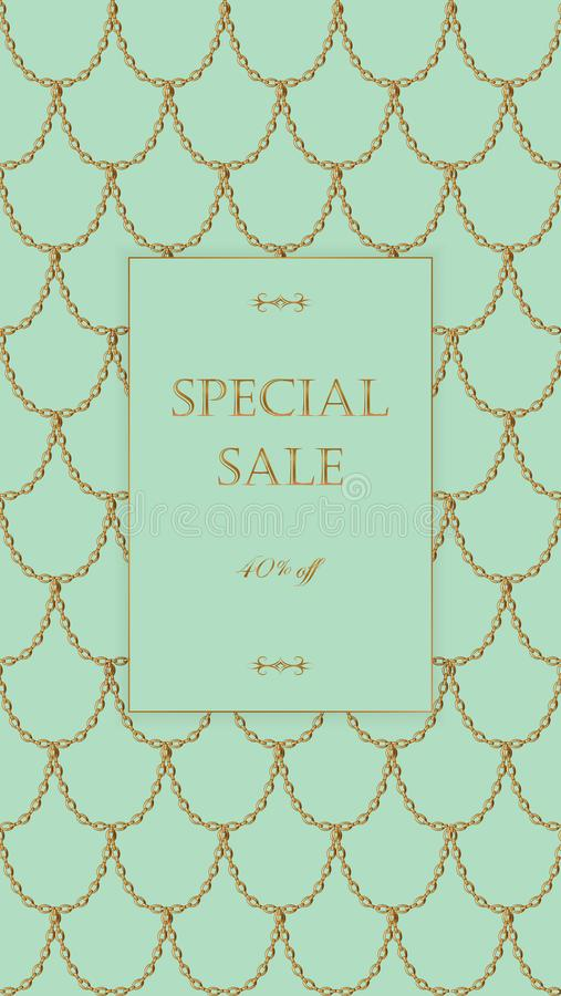 Golden chain sale banner template light turquoise gold fish scales download golden chain sale banner template light turquoise gold fish scales promotional commercial offer stopboris Choice Image
