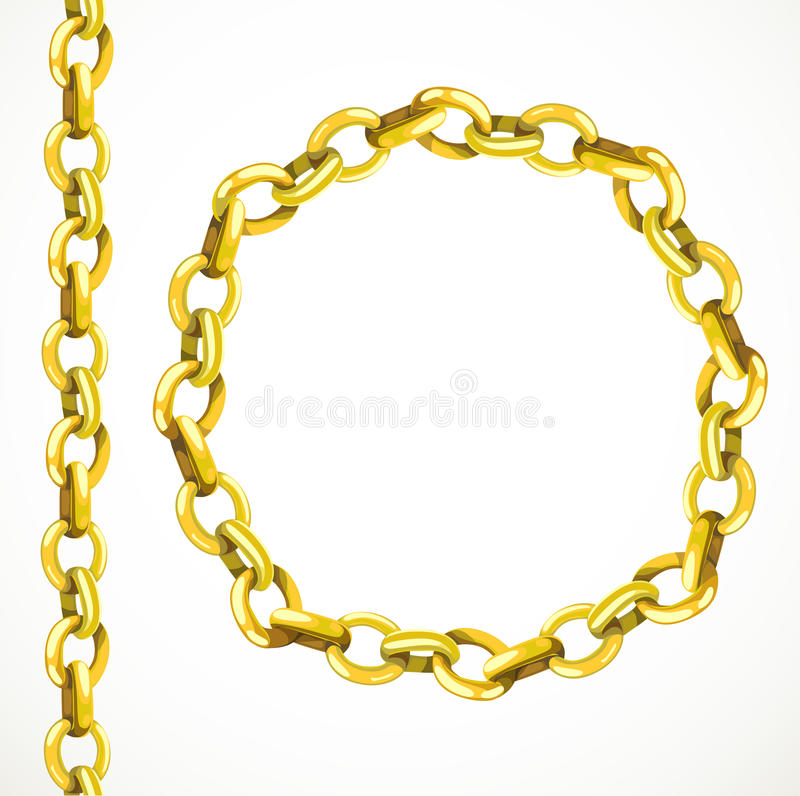 Golden chain seamless line and closed in a circle vector illustration