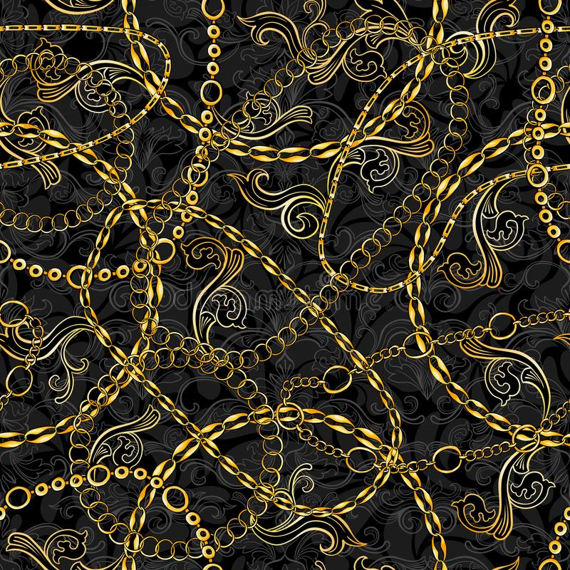 Golden Chains Baroque Jewelry Seamless Vector Pattern. Gold Accessory Backdrop for fashion Art Design. Decorative Trendy. Bandanna Scarf stock illustration
