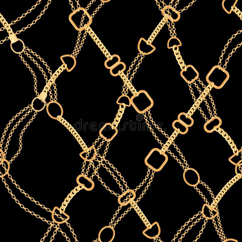 Golden Chains Fashion Seamless Pattern. Fabric Background with Gold Chain. Luxury Design with Jewelry Elements Textile. Golden Chains Fashion Seamless Pattern royalty free illustration