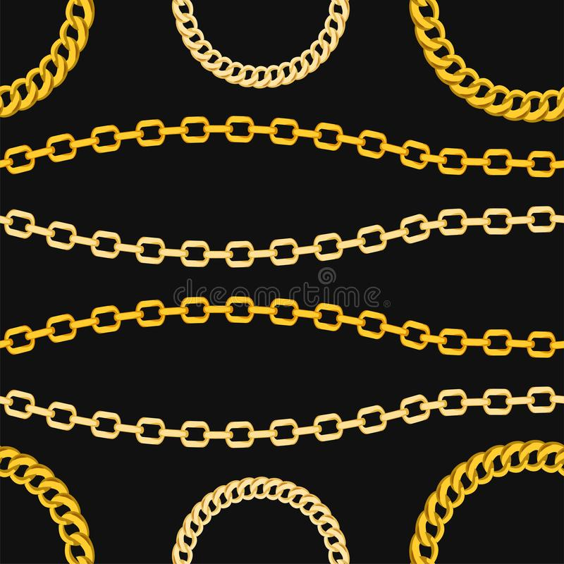 Golden chains jewelry seamless pattern on black background. The pattern can be repeated without any visible seams stock illustration