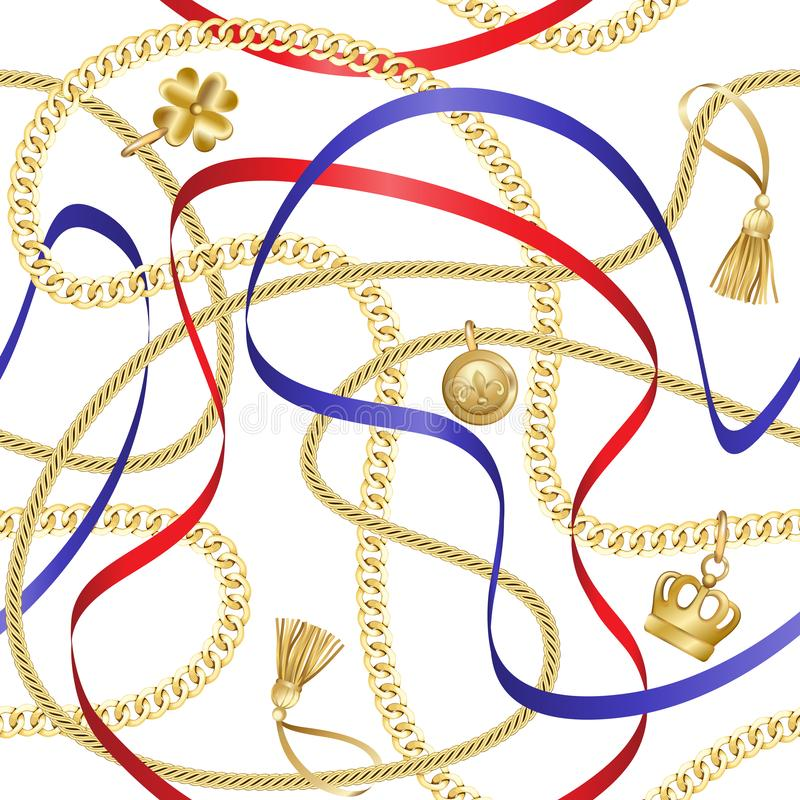 Golden Chains Seamless Pattern on White Background. Golden chains and ribbons seamless pattern on white background. Fashion luxury gold background with jewelry vector illustration