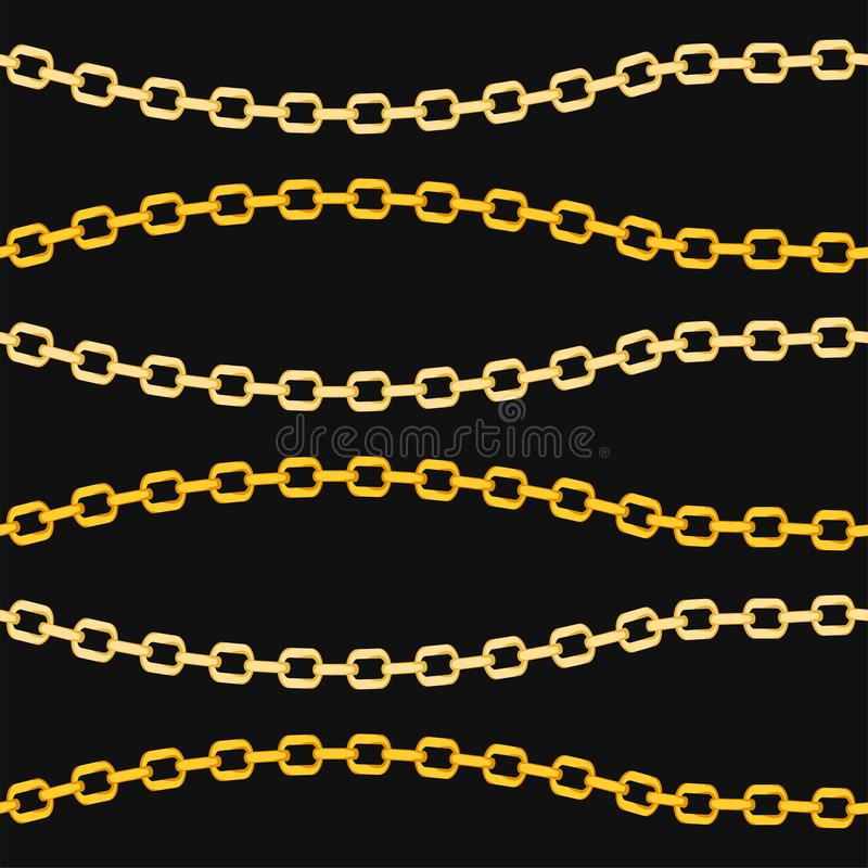 Golden chains seamless pattern on black background. The pattern can be repeated without any visible seams royalty free illustration