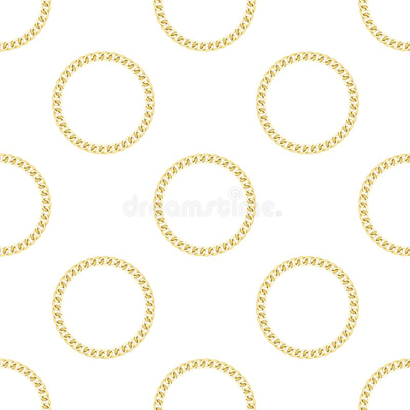 Golden Chains Seamless Pattern on White Background. Golden round chains seamless pattern on white background. Fashion luxury polka dot repeat background with royalty free illustration