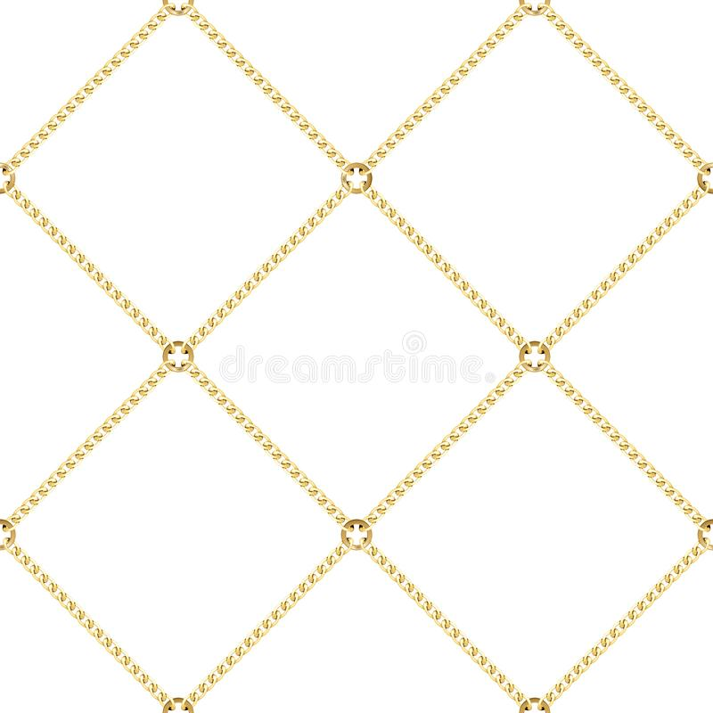 Golden Chains Seamless Pattern on White Background. Golden squared chains seamless pattern on white background. Fashion luxury gold repeat background with royalty free illustration