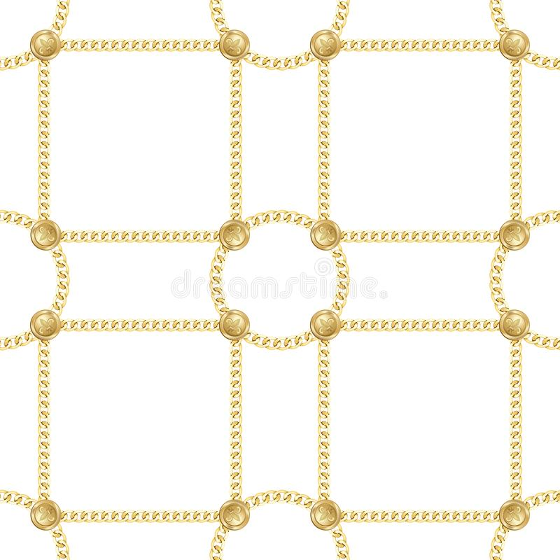 Golden Chains Seamless Pattern on White Background. Golden squared and round chains seamless pattern on white background. Fashion luxury gold repeat background stock illustration
