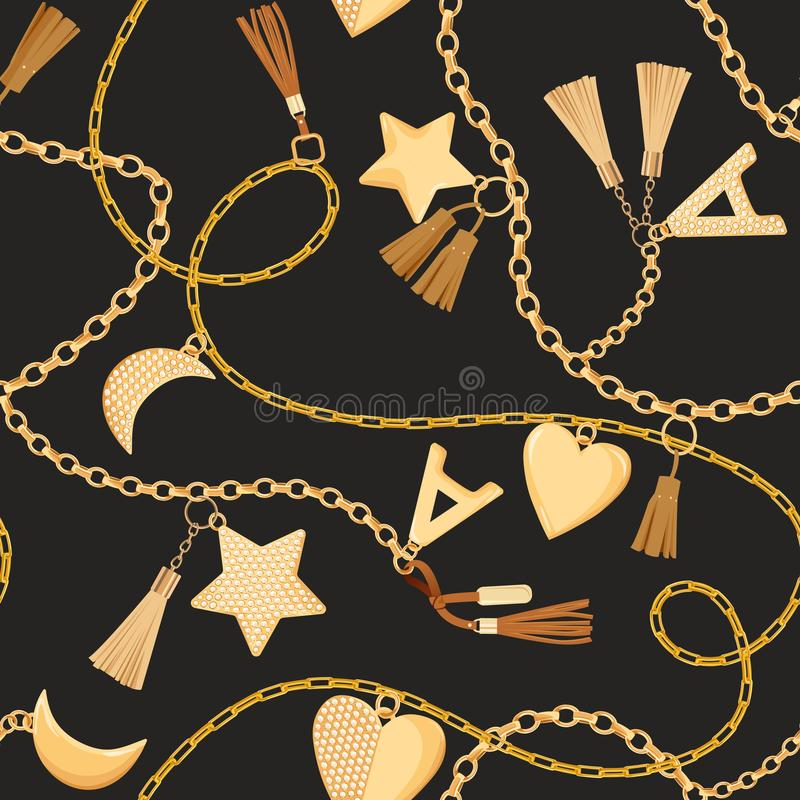 Free Golden Chains, Straps And Charms With Diamonds Seamless Pattern. Fashion Fabric Background With Gold, Gemstones Royalty Free Stock Photography - 135925917