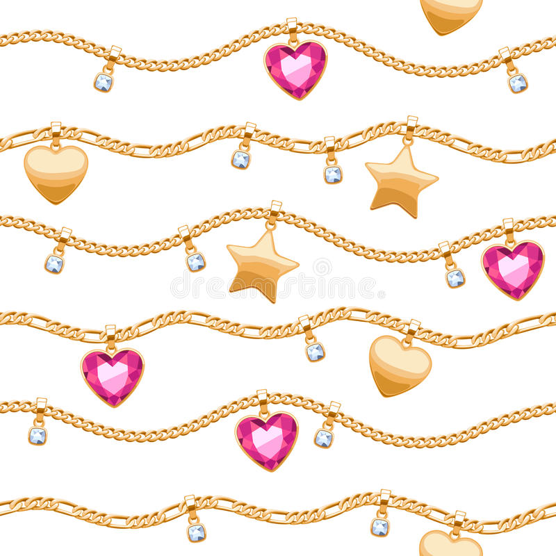 Golden chains white and pink gemstones pattern. stock illustration