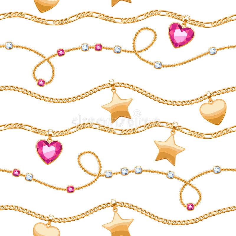 Golden chains white and pink gemstones pattern. royalty free illustration