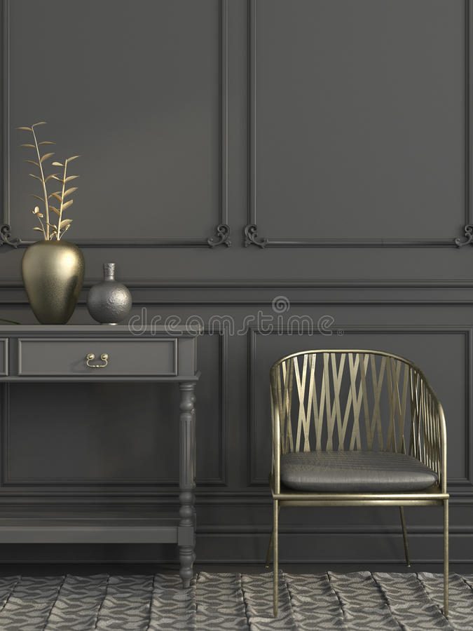Golden chair in gray interior royalty free illustration