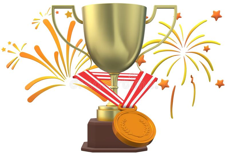 A golden champion cup award prize and a golden medal with red ribbon strap with a white fireworks backdrop. A computer generated illustration image of a golden royalty free illustration