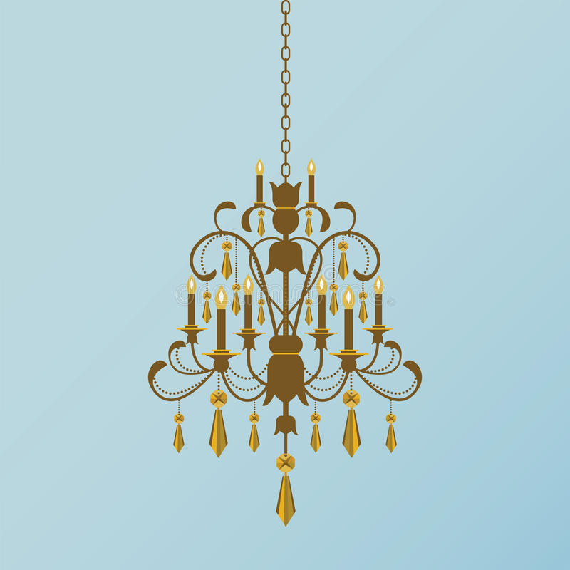Golden Chandelier. Bronze and golden chandelier with hanging beads and crystals vector illustration