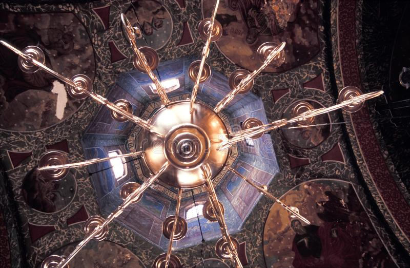 Golden chandelier royalty free stock photo