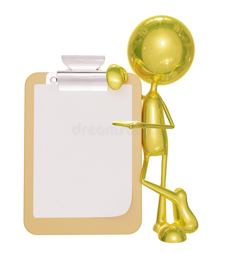 Golden character with presentation pose. 3d illustration of golden character with presentation pose stock illustration