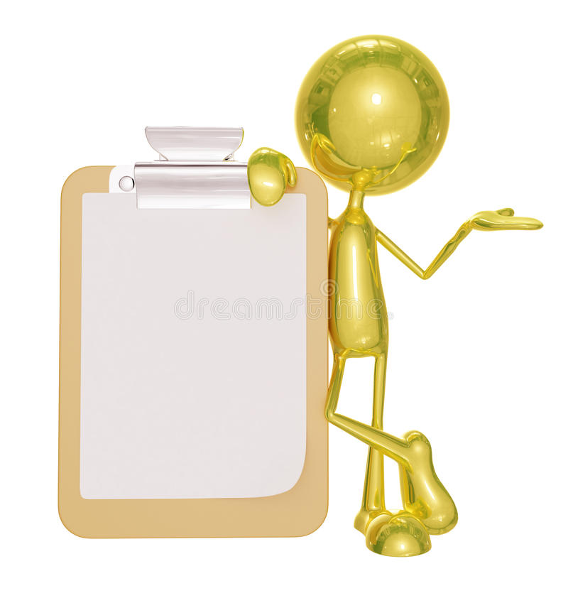 Golden character with presentation pose. 3d illustration of golden character with presentation pose royalty free illustration