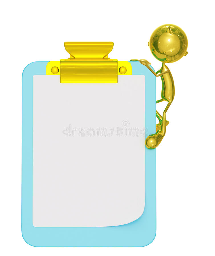 Golden character with presentation pose. 3d illustration of golden character with presentation pose vector illustration