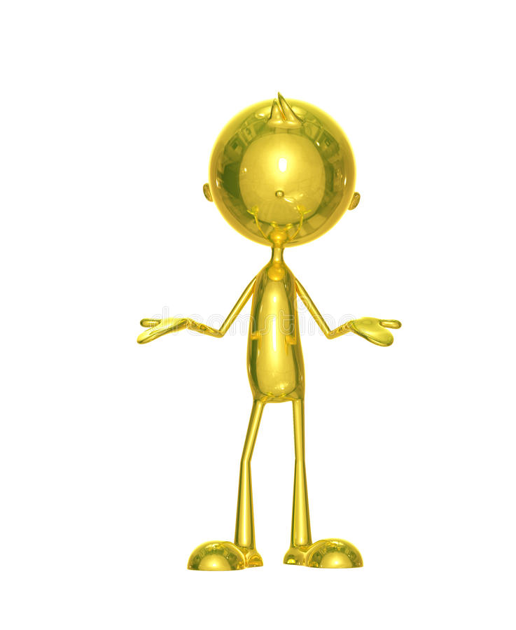 Golden character with presentation pose. Illustration of golden character with presentation pose royalty free illustration