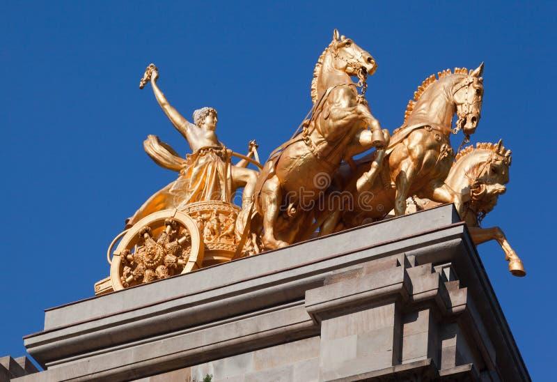 Golden Charriot Parc de La Ciutadella Barcelona royalty free stock photo