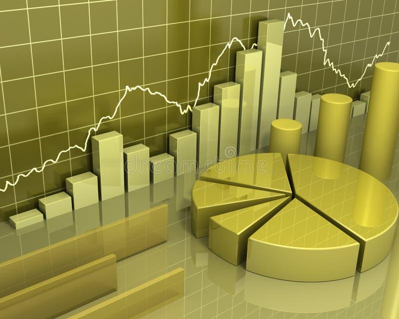 Golden charts business concept. High resolution 3D abstract of golden metallic financial bar charts, pie charts, and misc business concept diagrams