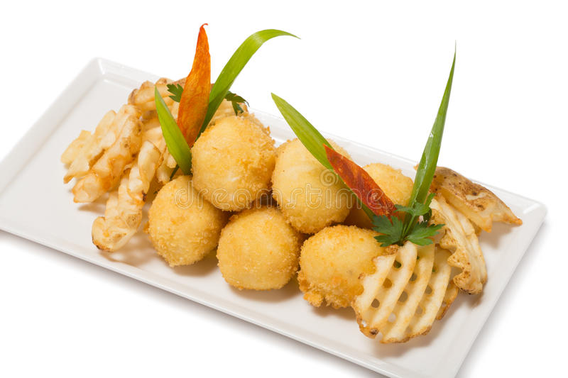 Golden cheese balls with shrimp royalty free stock images