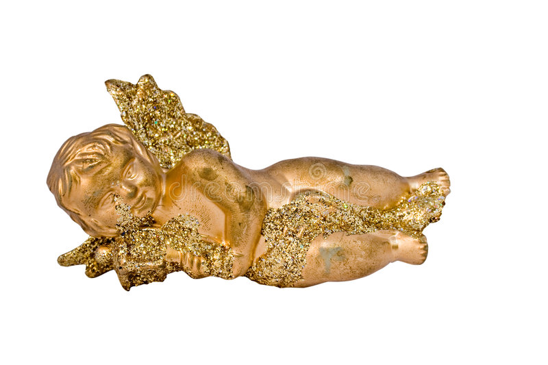 Golden Cherub With Clipping Path Royalty Free Stock Images