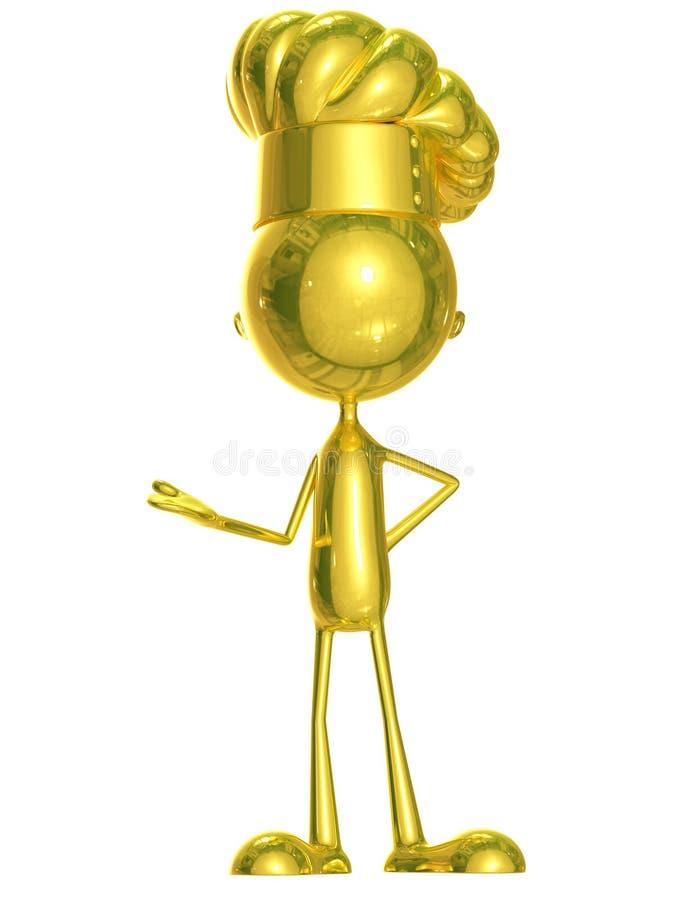 Golden chet with presentation pose. 3d Illustration of golden chef with presentation pose royalty free illustration