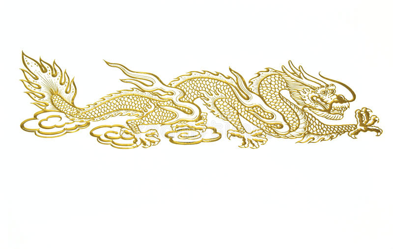 Golden Chinese dragon. Shot on white background stock photos