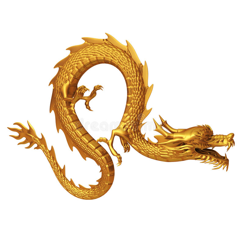 Golden Chinese dragon side vector illustration