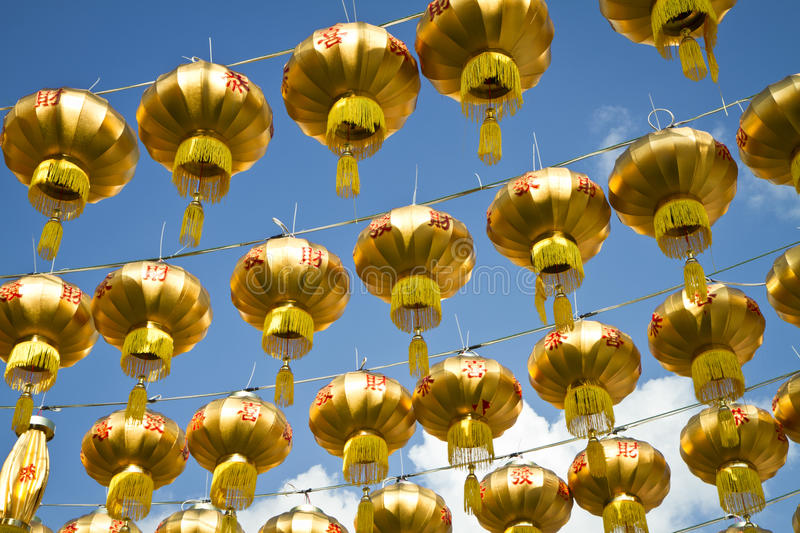 Download Golden chinese lanterns stock image. Image of traditional - 22743109