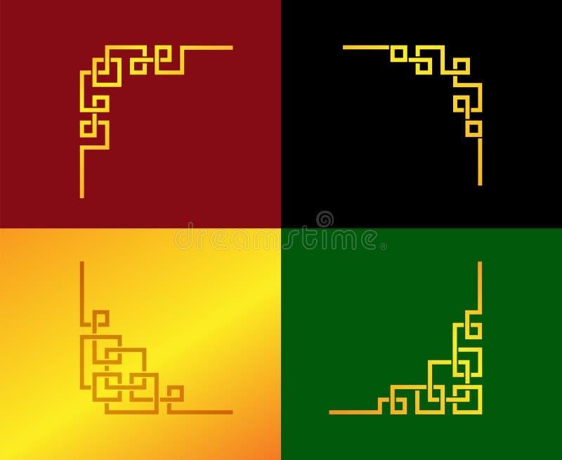 Golden Chinese line corner ornament in vector art vector illustration