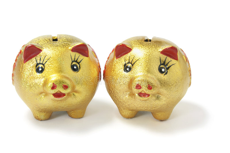 Golden Chinese Piggy Banks royalty free stock image