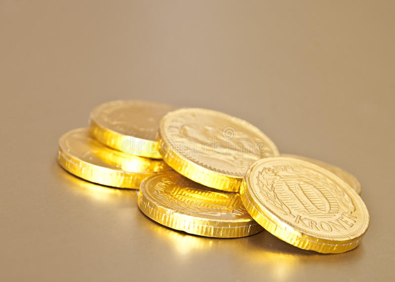 Download Golden chocolate coins stock image. Image of cent, bank - 28093725