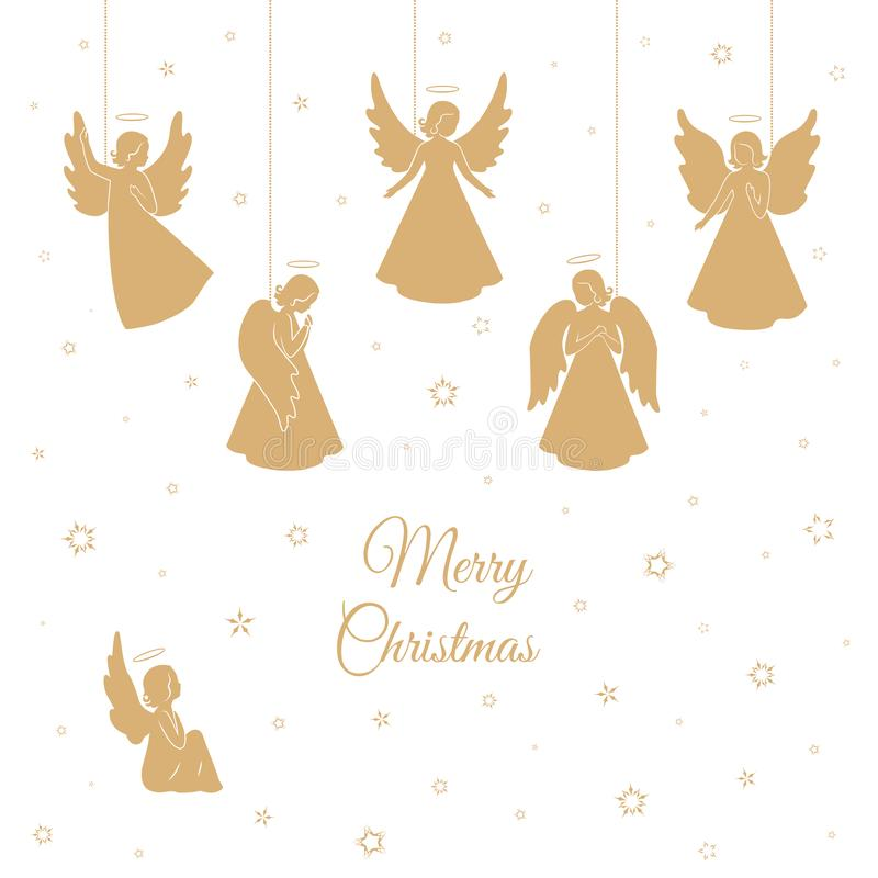 Golden Christmas angels with wings and nimbus vector illustration
