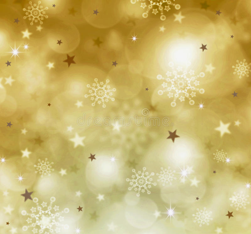 Golden christmas backgound. Golden christmas background and snowflakes. Golden christmas backgound and stars royalty free stock photography