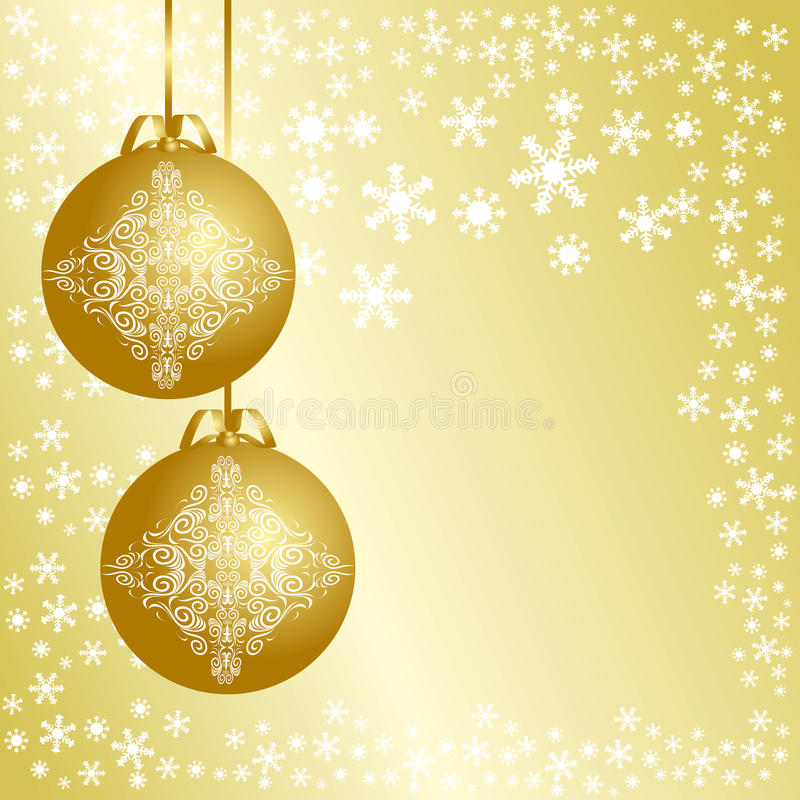 Golden Christmas Background With Christmas Balls. Royalty Free Stock Images