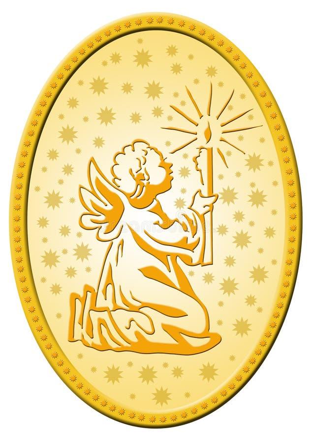 Golden christmas badge royalty free illustration