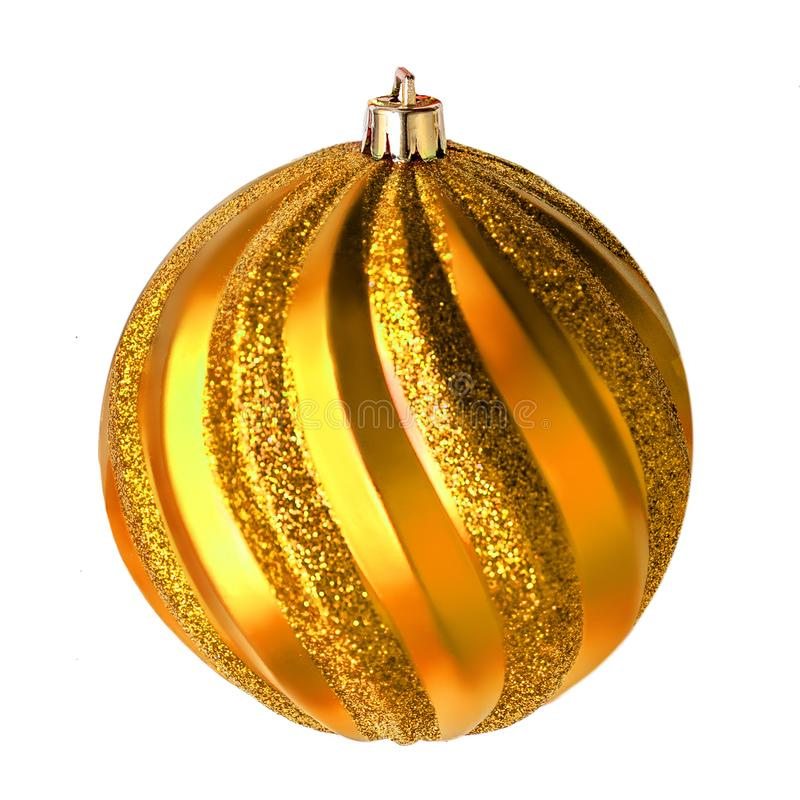 Golden Christmas ball isolated on white background close up. Me stock images