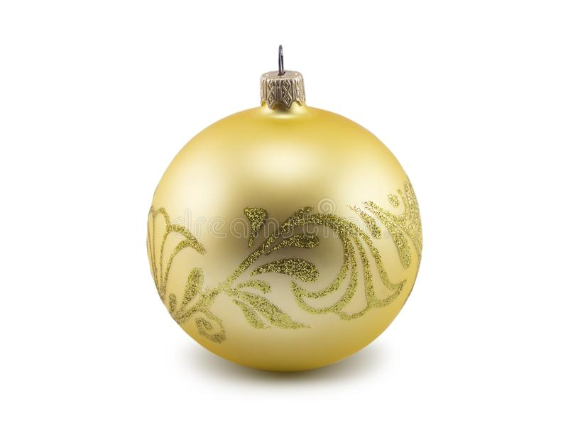 Golden christmas ball isolated on white background stock photography
