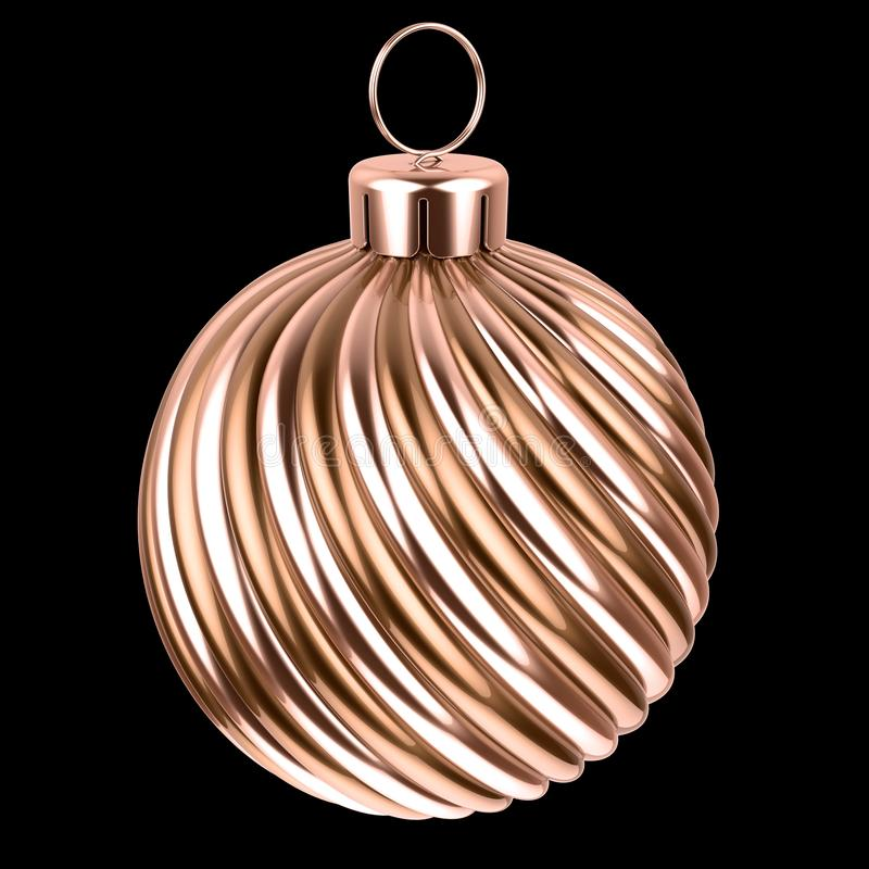 Golden Christmas ball metallic shiny. New Years Eve bauble. Decoration yellow glossy sphere. Merry Xmas hanging adornment. 3d illustration, isolated on black vector illustration