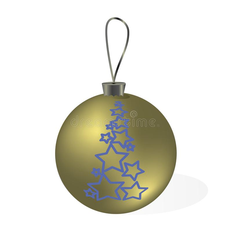 Golden Christmas ball with pattern isolated on a transparent background. royalty free stock images