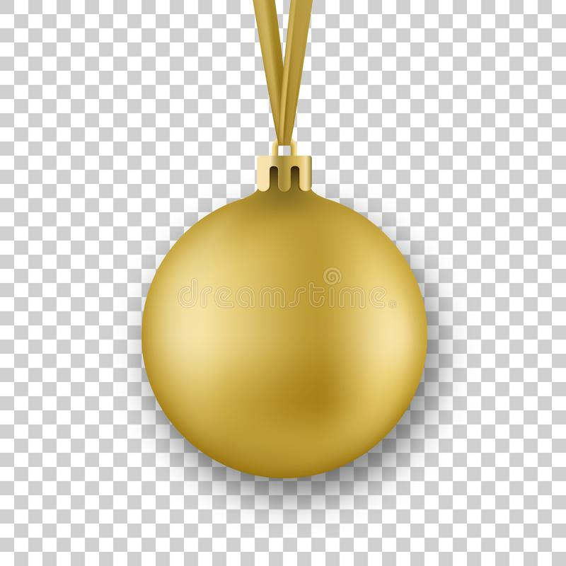 Golden Christmas ball. Realistic Christmas ball with silk ribbon, isolated on transparent background.  stock illustration