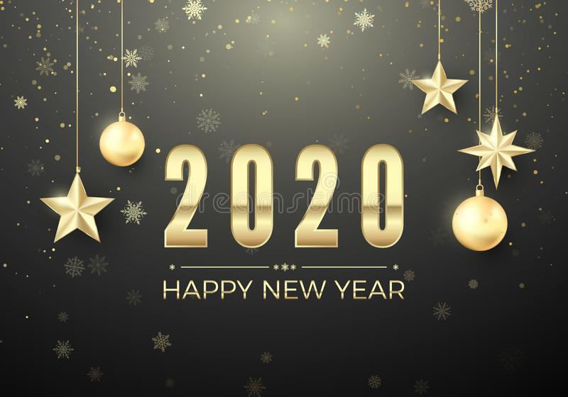 Golden Christmas ball and stars. New Year decoration background. Gold snowflakes and greeting text. Happy New Year 2020. Vector stock illustration
