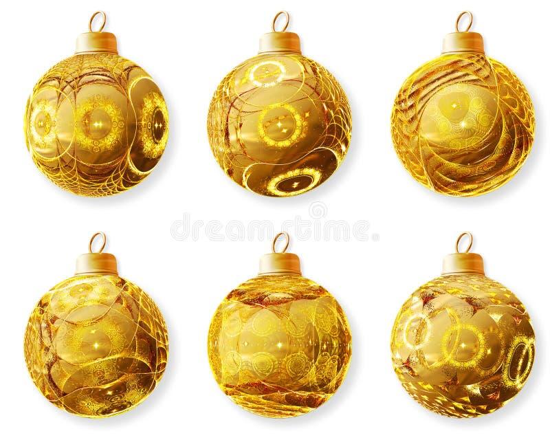 Golden Christmas balls stock illustration
