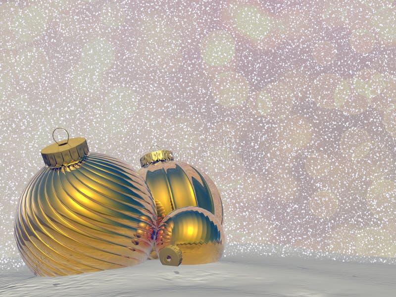 Golden Christmas balls - 3D render stock illustration