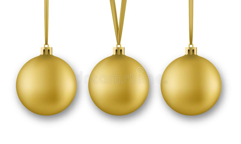 Golden Christmas balls. Realistic Christmas balls decorations with silk ribbon, isolated on white background.  stock illustration