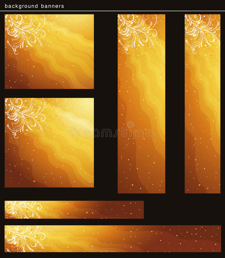 Golden christmas banners royalty free stock photos