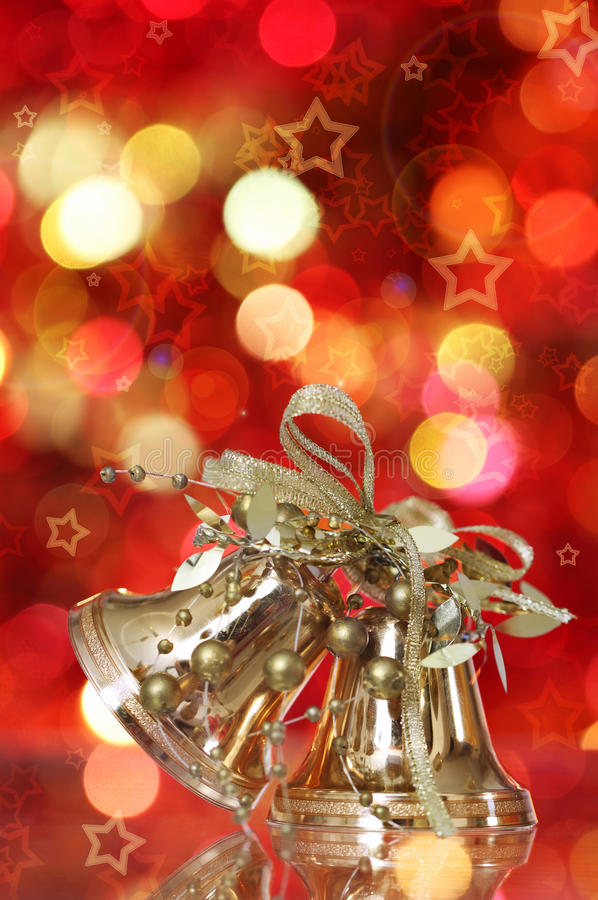 Golden Christmas Bell Tree Decorations Royalty Free Stock Image