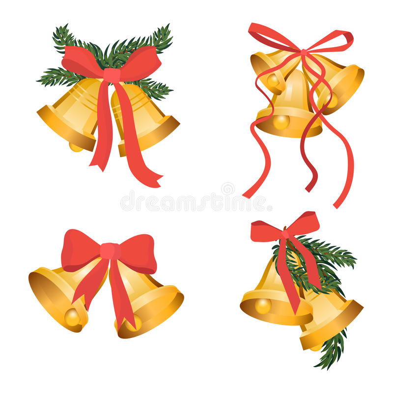 Golden Christmas bells holiday collection with green tree branches and red bow ribbon isolated on white background. Gold royalty free illustration