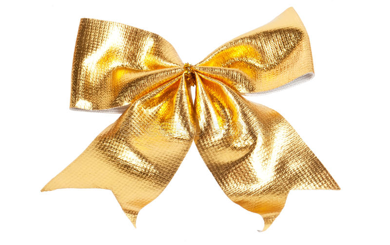 Golden Christmas bow. Isolated on white stock image